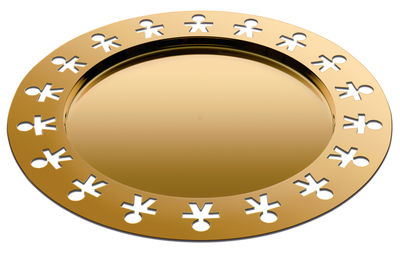 Tableware - Trays - Girotondo Or 24 carats Tray - / Ø 40 cm - Limited, numbered edition by Alessi - 24-carat gold - 24K gold-plated stainless steel