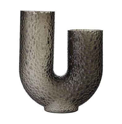Decoration - Vases - Arura Large Vase - / Textured glass - L 34 x H 40 cm by AYTM - H 40 cm / Grey - Mouth blown glass
