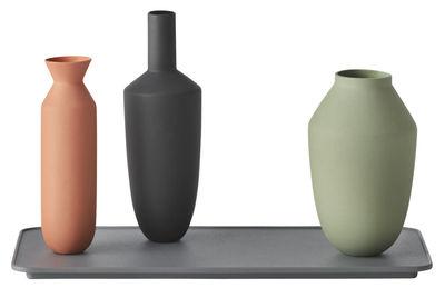 Decoration - Vases - Balance Vase - / Set of 3 vases + Tray by Muuto - Tangerine, Light Green, Black, Dark Grey - China, Painted steel