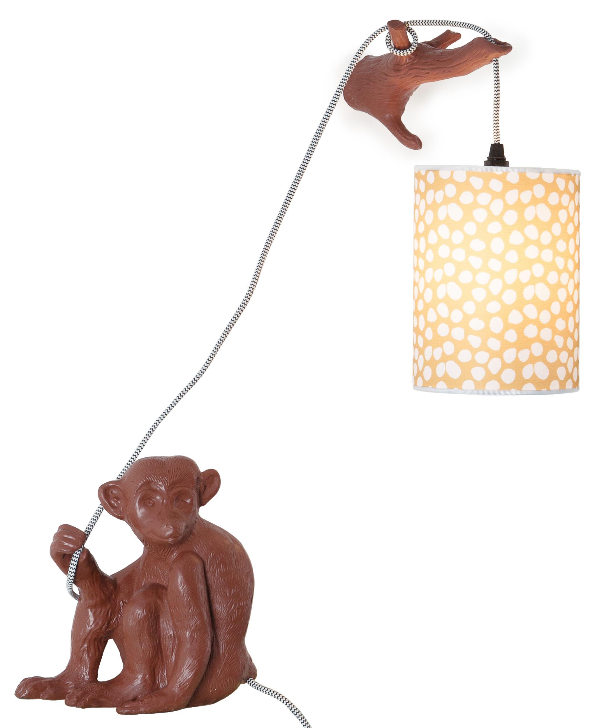 Leuchten - Tischleuchten - Monsieur Choco Wandleuchte mit Stromkabel / mit Ast - Domestic - Braun - emaillierte Keramik