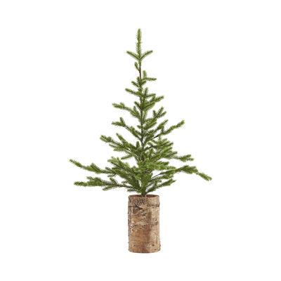 Interni - Oggetti déco - Albero di Natale artificiale - / Con supporto in legno & Catena luminosa LED - H 90 cm di House Doctor - Verde / Supporto in betulla - Betulla, Materiale plastico