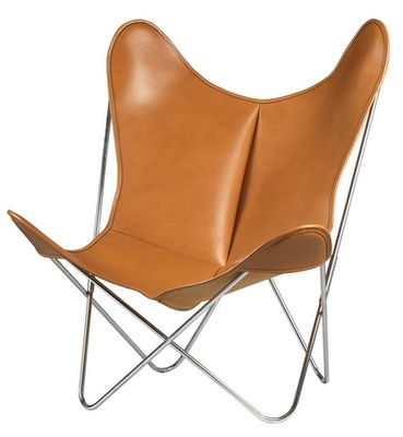 Furniture - Armchairs - AA Butterfly Armchair - Leather / Chromed structure by AA-New Design - Chromed frame / Brown leather - Chromed steel, Leather