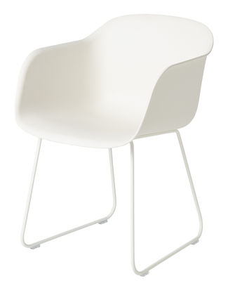 Furniture - Chairs - Fiber Armchair - / Sled legs by Muuto - White - Painted steel, Recycled composite material