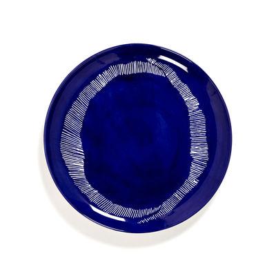 Arts de la table - Assiettes - Assiette Feast Large / Ø 26,5 cm - Serax - Traits / Lapis lazuli & blanc - Grès émaillé