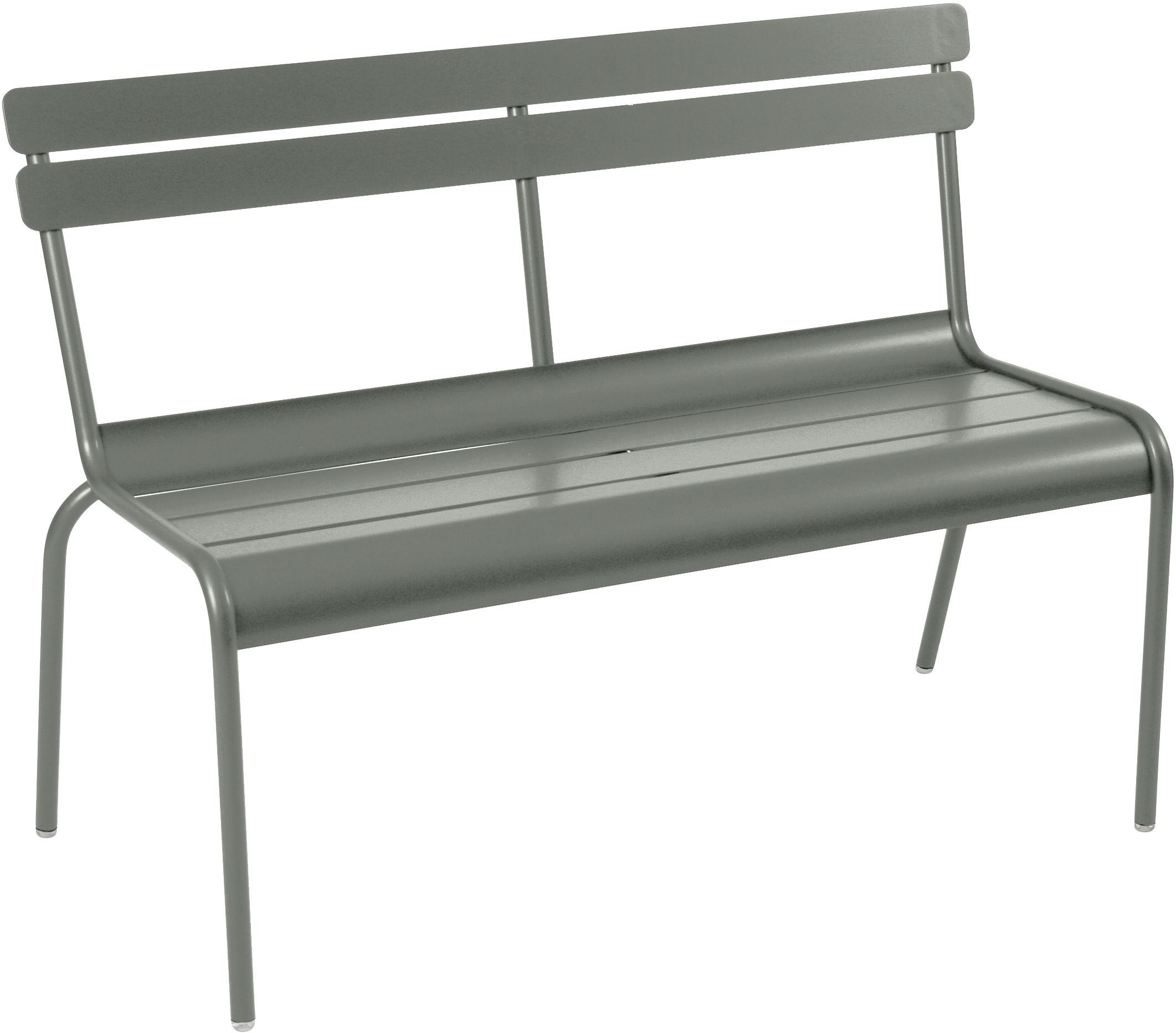 Möbel - Bänke - Luxembourg Bank mit Rückenlehne / 2-/3-Sitzer - L 118 cm - Metall - Fermob - Rosmarin - lackiertes Aluminium