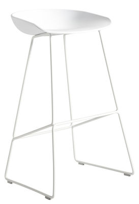 Furniture - Bar Stools - About a stool AAS 38 Bar stool - H 75 cm - Steel sled base by Hay - White - Polypropylene, Steel