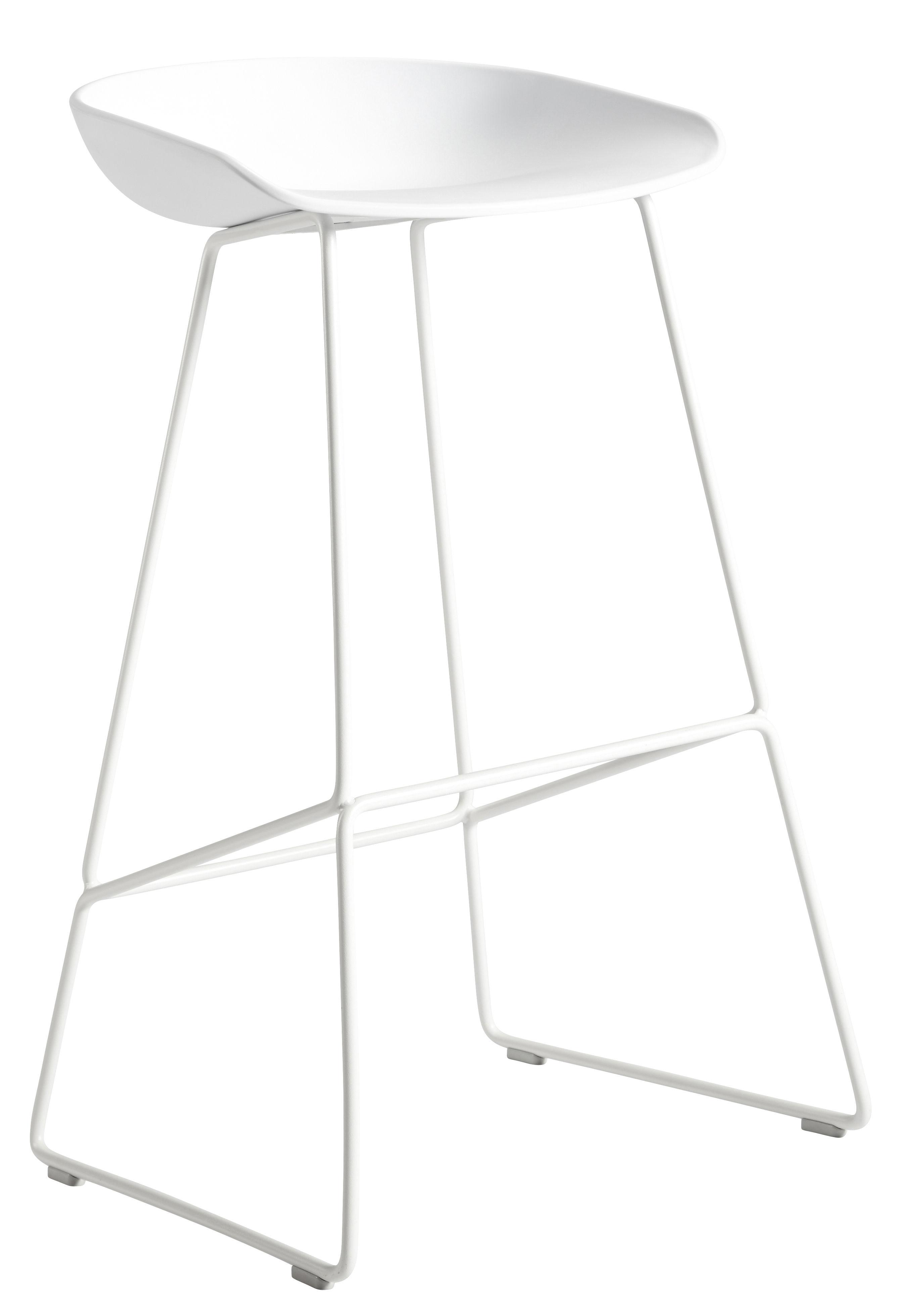Möbel - Barhocker - About a stool AAS 38 Barhocker / H 75 cm - Kufengestell aus Stahl - Hay - Weiß - Polypropylen, Stahl