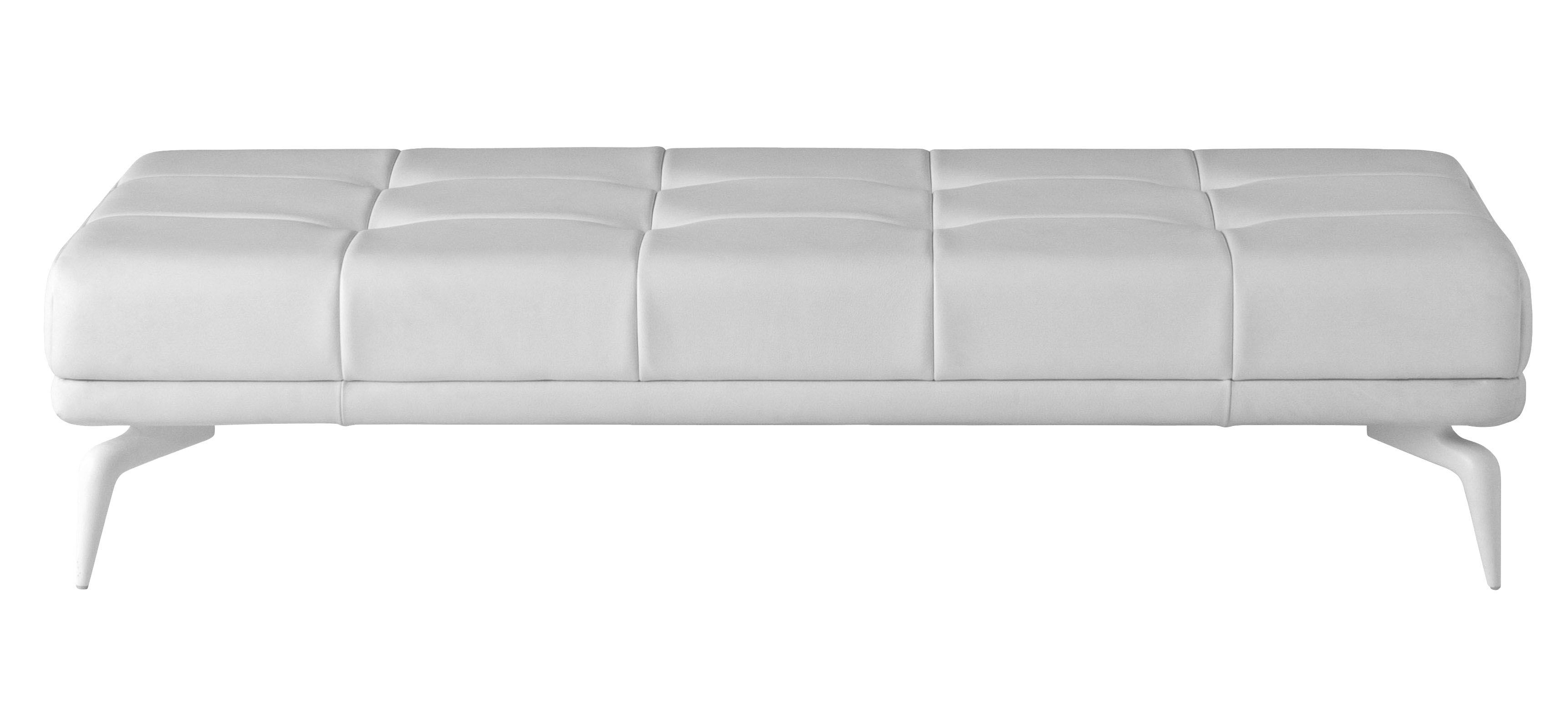 Furniture - Poufs & Floor Cushions - Leeon Bench - Bench by Driade - White leather - Lacquered aluminium, Leather