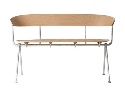 Furniture - Benches - Officina Bench - / Wood - L 125 cm by Magis - Natural beechwood / Galvanised structure - Beechwood plywood, Wrought iron