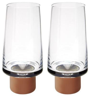Tavola - Bicchieri  - Bicchiere Tank - / Alto - H 16,5 cm - Set da 2 di Tom Dixon - Trasparente / Rame - Vetro soffiato a bocca