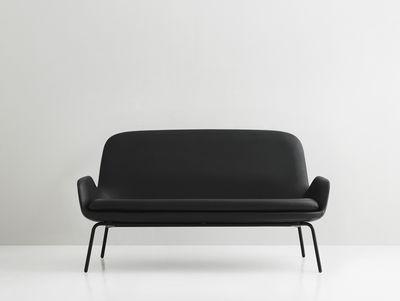 Canap droit era l 145 cm cuir m tal cuir noir - Canape made in design ...