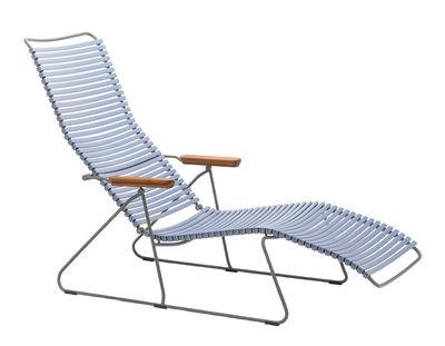 Chaise longue Click / Dossier multipositions - Houe bambou,bleu pigeon en matière plastique