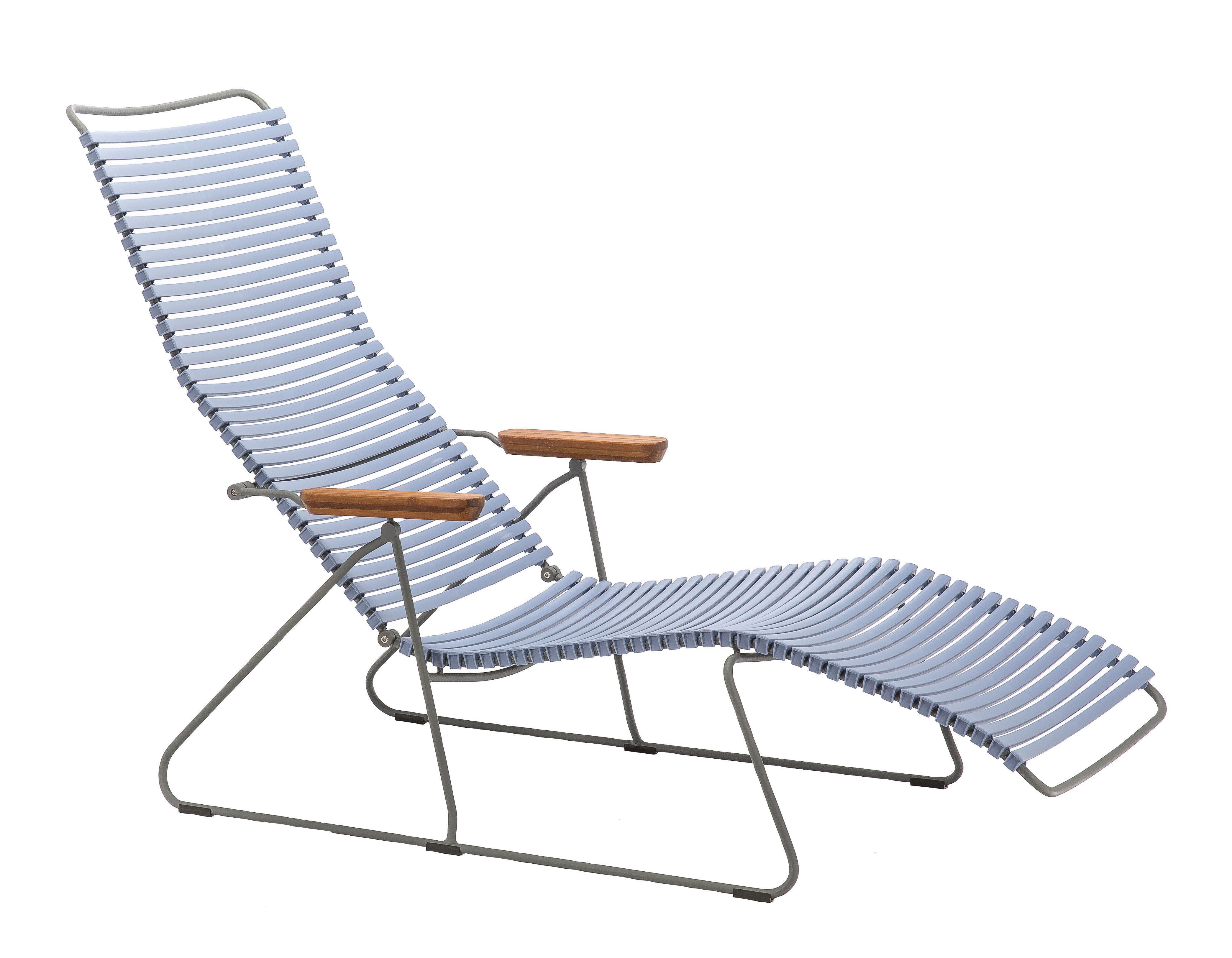 Outdoor - Chaises longues et hamacs - Chaise longue Click / Dossier multipositions - Houe - Bleu pigeon - Bambou, Métal, Plastique