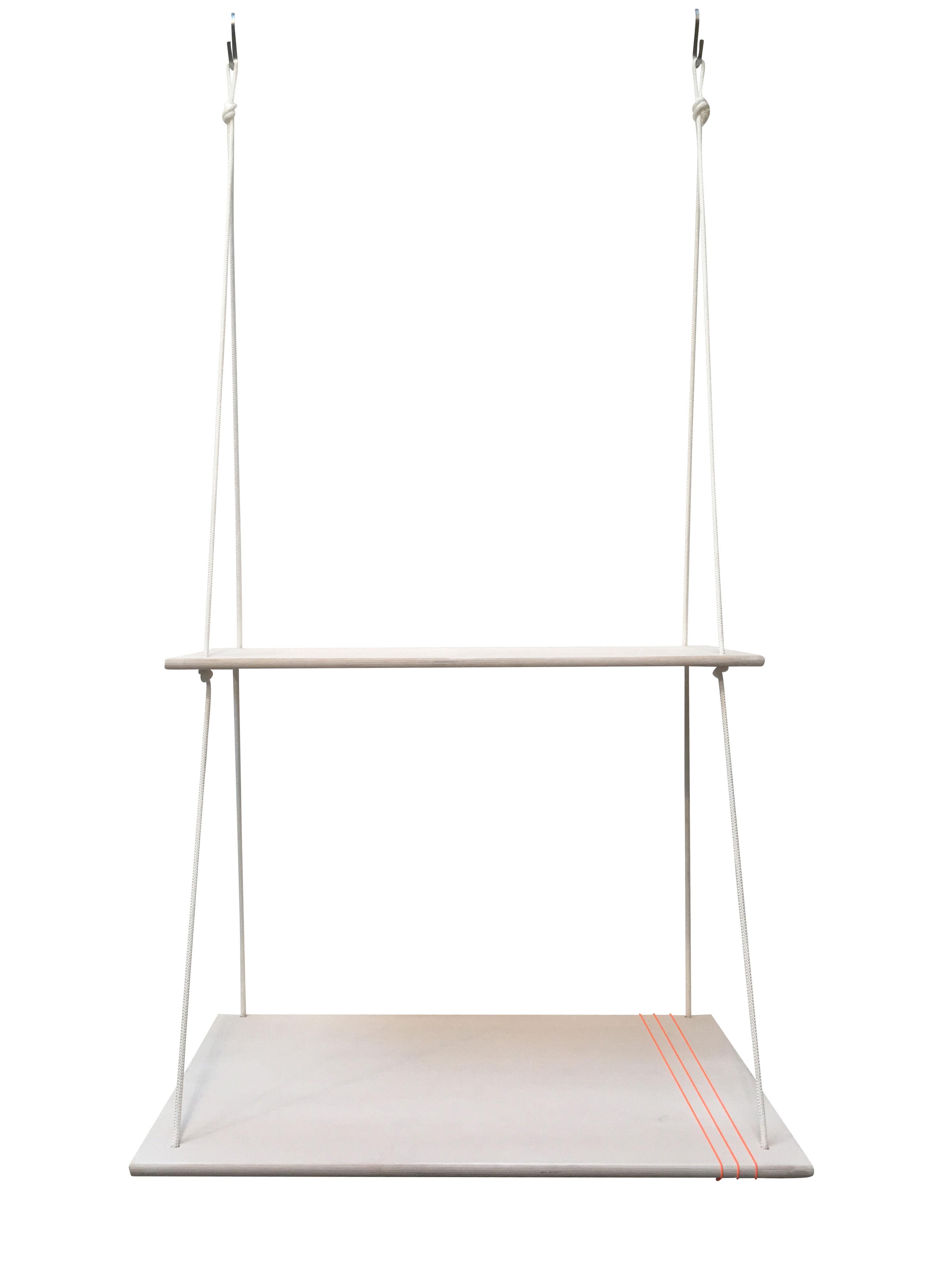 Furniture - Kids Furniture - Hang Desk Desk - L 90 x D 55 cm by Trimm Copenhagen - White - Birch veneer, Rope