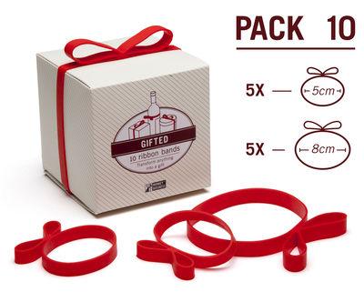 Elastique Gifted en forme de ruban / Pour cadeaux - Lot de 10 - Pa Design rouge en matière plastique