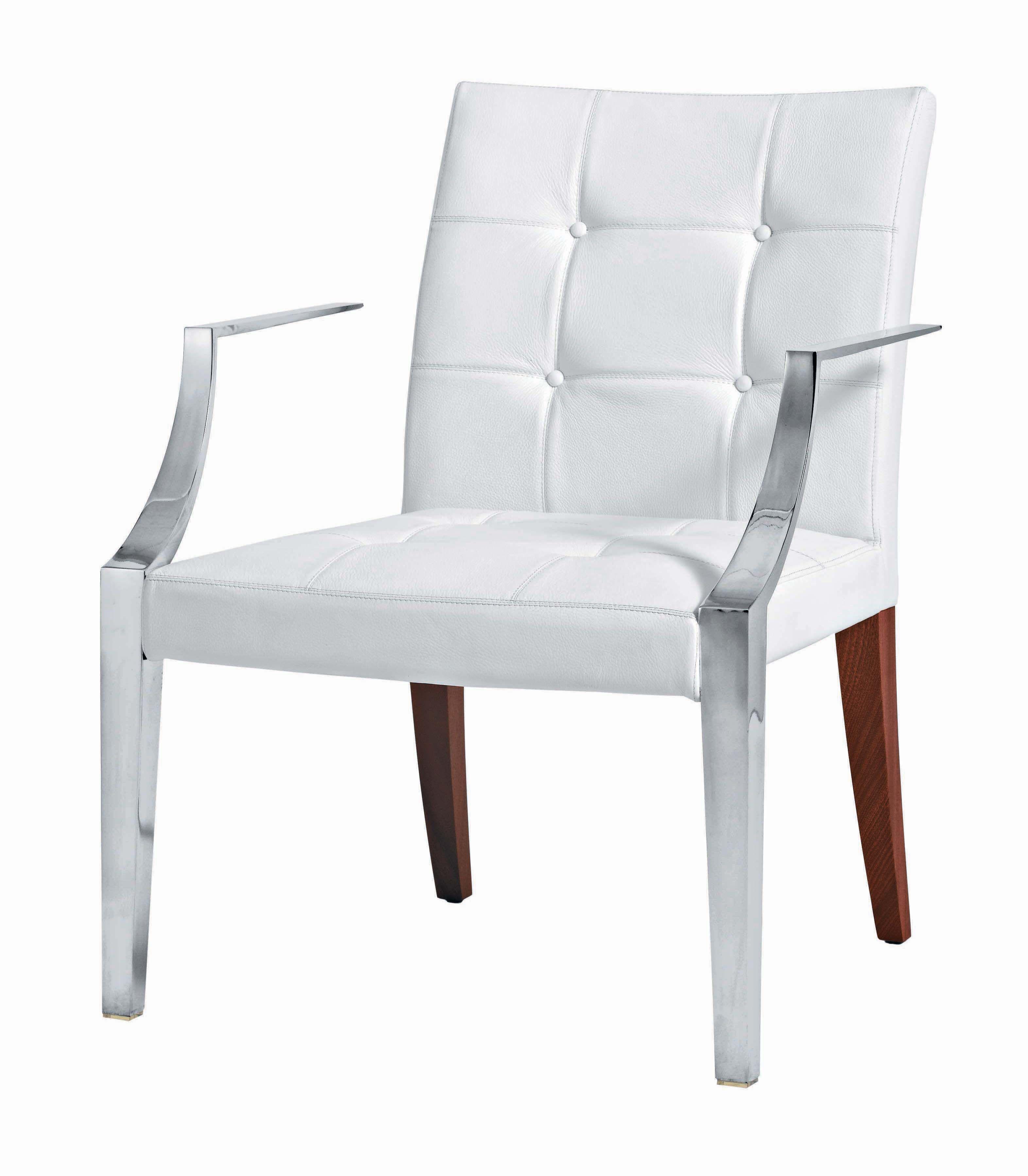 Mobilier - Chaises, fauteuils de salle à manger - Fauteuil rembourré Monseigneur / Large - Cuir - Driade - Cuir blanc - Acajou, Acier inoxydable, Cuir