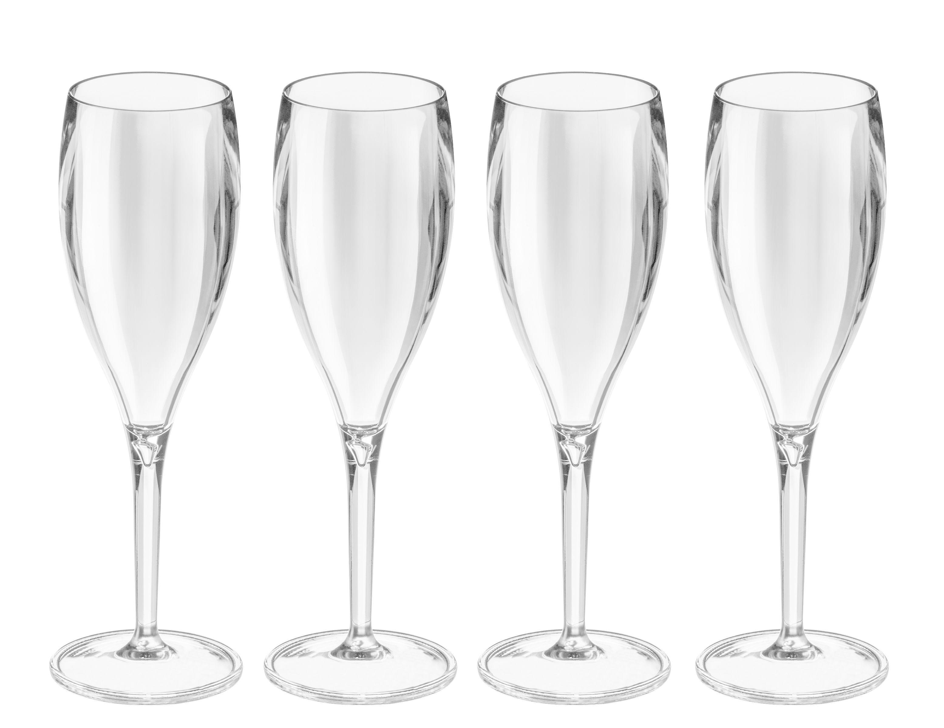 Arts de la table - Verres  - Flûte à champagne Cheers NO. 1 / Plastique - Lot de 4 - Koziol - Transparent - Plastique
