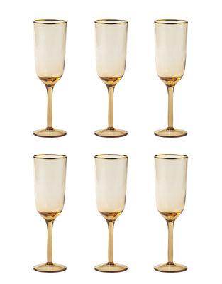 Arts de la table - Verres  - Flûte à champagne Decò / Set de 6 - H 19,5 cm - Bitossi Home - Rose poudré - Verre soufflé