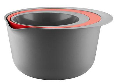 Tavola - Ciotole - Insalatiera - / Set 2 insalatiere + colino impilabile di Eva Solo - Grisgio/ Rosso arancione - Plastica