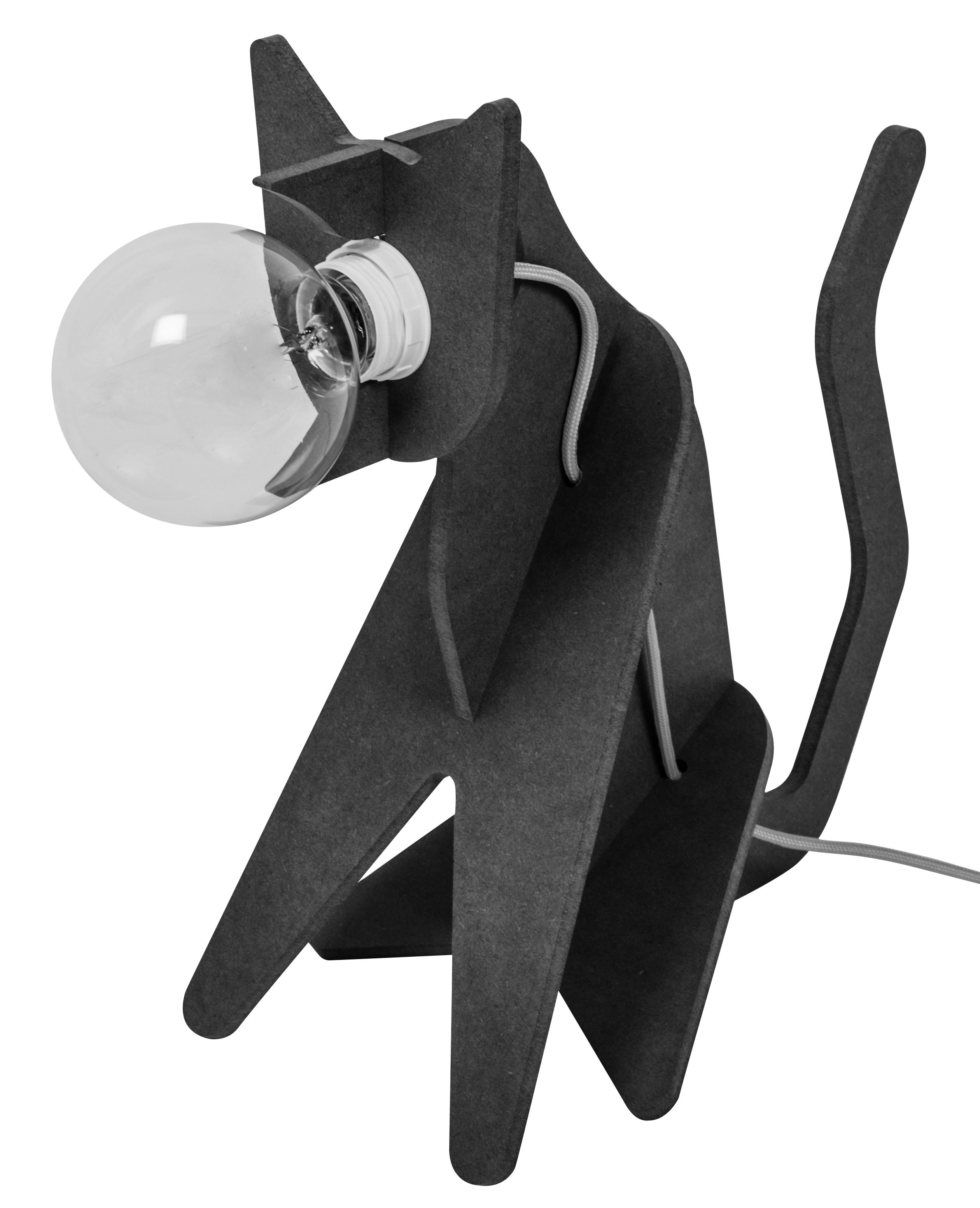Luminaire - Lampes de table - Lampe de table Get out / Chat - ENOstudio - Noir - Câble gris - Medium teinté