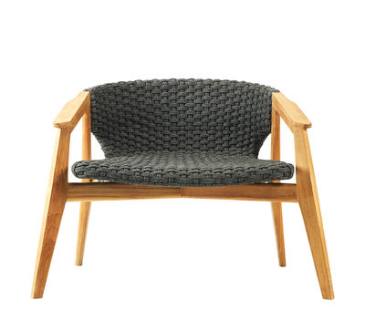 Furniture - Armchairs - Knit Low armchair - / Synthetic rope by Ethimo - Teak / Lava grey - Natural teak, Synthetic rope