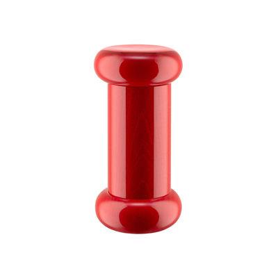 Coquetiers - Sel, poivre et épices - Moulin à épices / By Ettore Sottsass - H 15 cm / Alessi 100 Values Collection - Alessi - Rouge - Céramique, Hêtre massif tourné certifié FSC