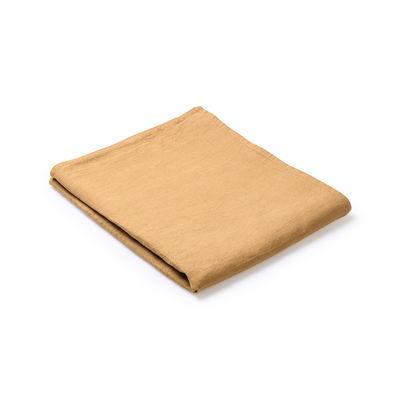 Nappe en tissu / 160 x 250 cm - Lin traité TEFLON®anti-tache - Au Printemps Paris jaune/orange/marron/or en tissu
