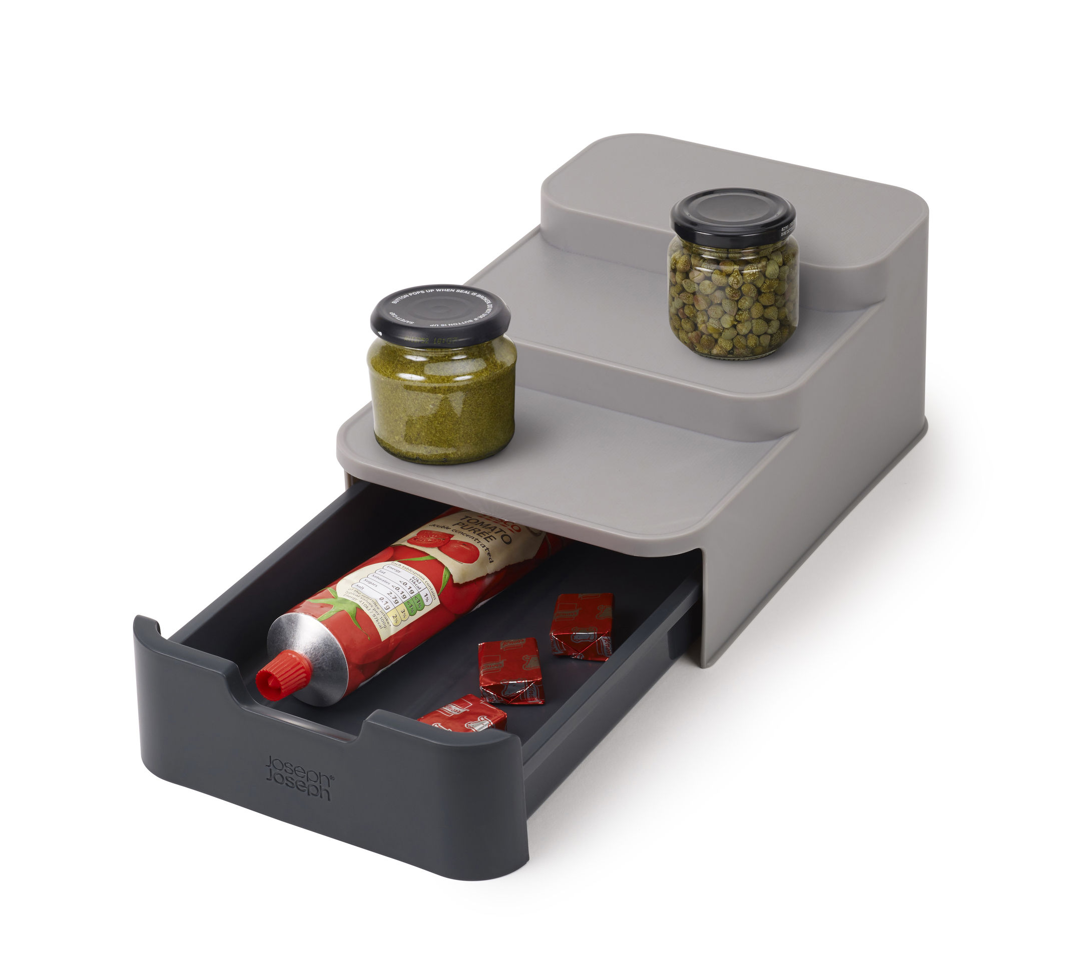 Cuisine - Boîtes, pots et bocaux - Organisateur de placard / 3 niveaux & tiroir - L 16,5 x P 26 cm - Joseph Joseph - Gris - Polypropylène