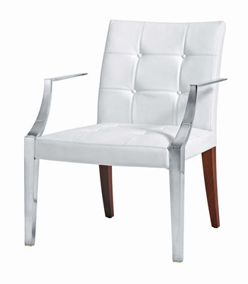 Furniture - Chairs - Monseigneur Padded armchair - Large - Leather by Driade - White leather - Leather, Mahogany, Stainless steel