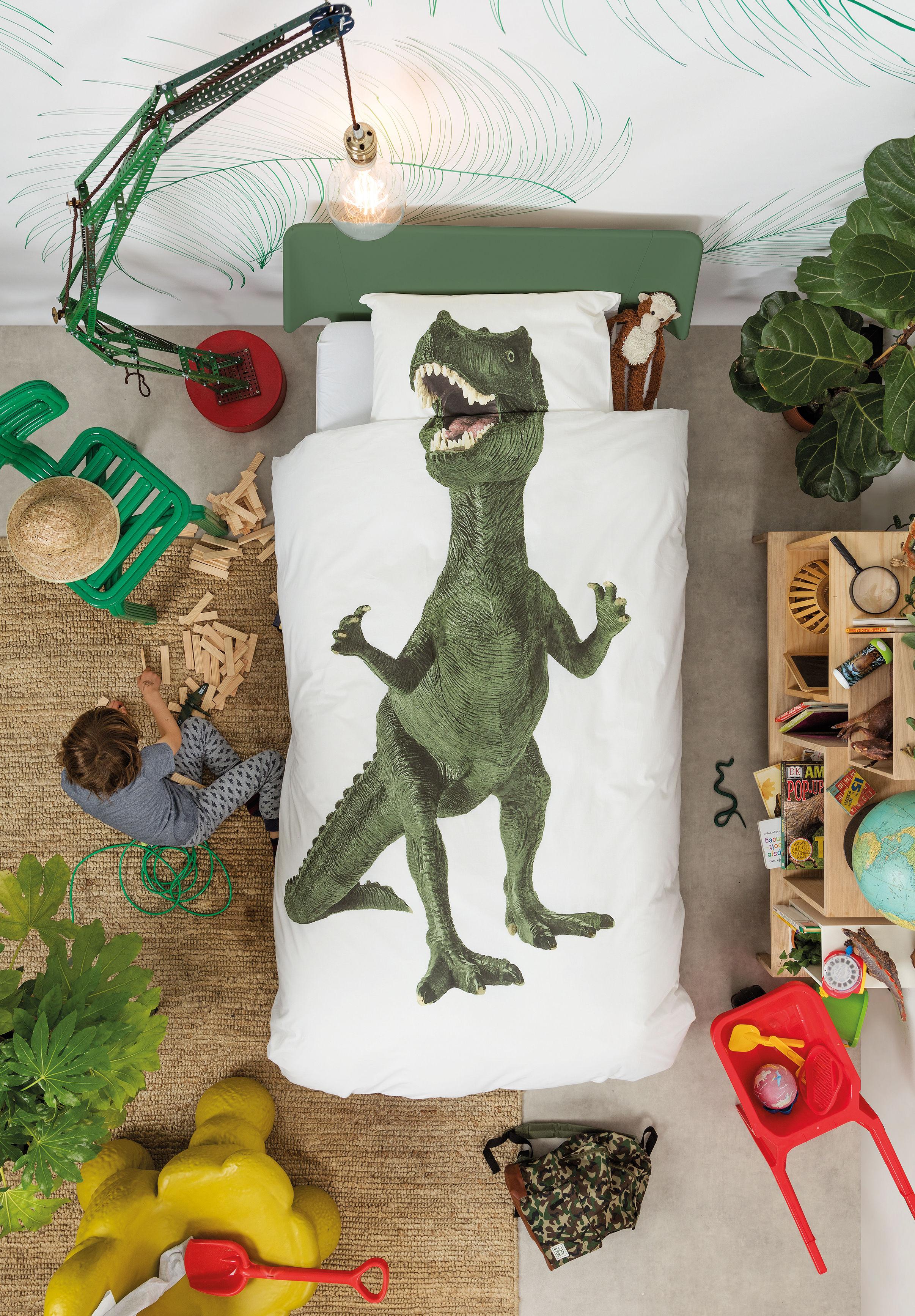parure de lit 1 personne dinosaurus rex snurk vert. Black Bedroom Furniture Sets. Home Design Ideas