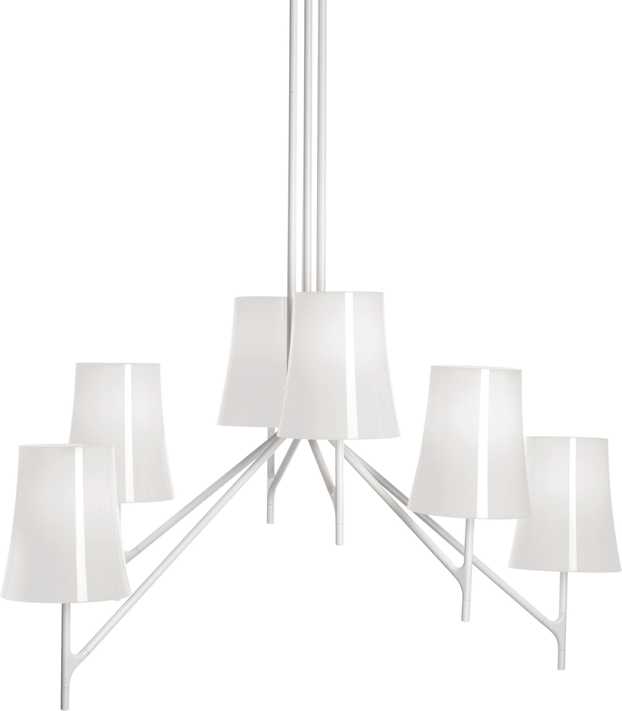 Lighting - Pendant Lighting - Birdie Pendant - Nine arms - Fix height by Foscarini - 9 arms - White - Polycarbonate, Varnished stainless steel