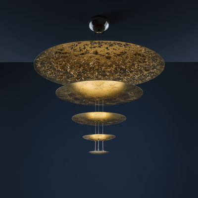 Lighting - Pendant Lighting - Macchina della Luce D Pendant - / LED - Ø 120 x H 145 cm - 5 disks by Catellani & Smith - Gold - Aluminium, Gold leaf