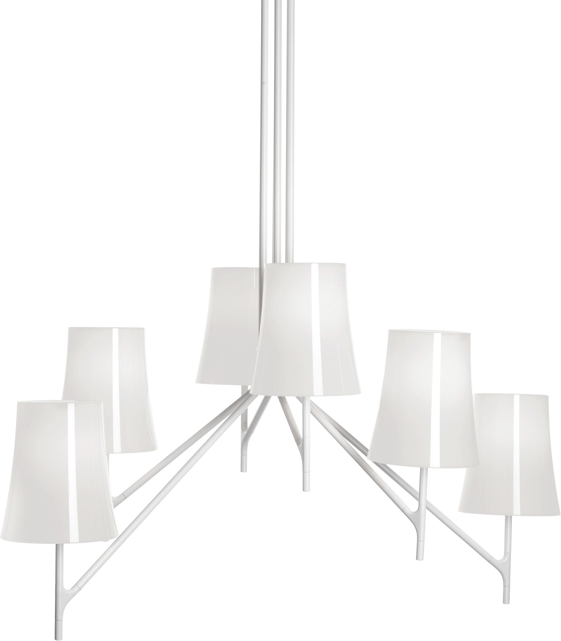 Leuchten - Pendelleuchten - Birdie Pendelleuchte 9 Arme - feste Höhe - Foscarini - 9 Arme - Weiß - klarlackbeschichteter rostfreier Stahl, Polykarbonat