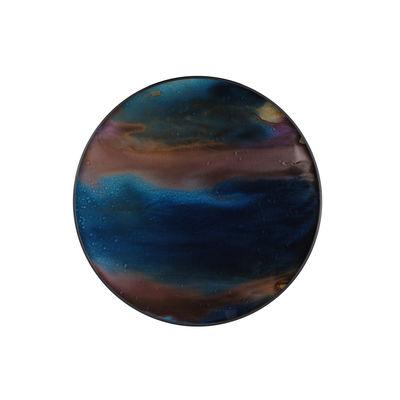 Image of Piano/vassoio Indigo Organic - / Ø 48 cm - Legno & vetro dipinto a mano di Ethnicraft - Blu/Marrone - Vetro