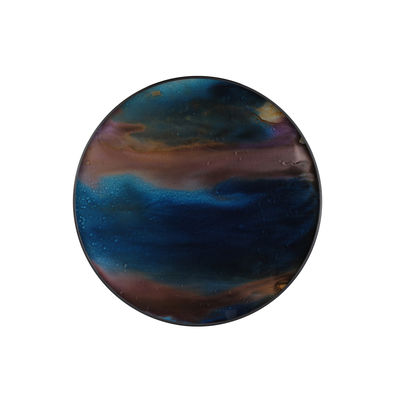 Plateau Indigo Organic / Ø 48 cm - Bois & verre peint main - Ethnicraft bleu/marron en verre