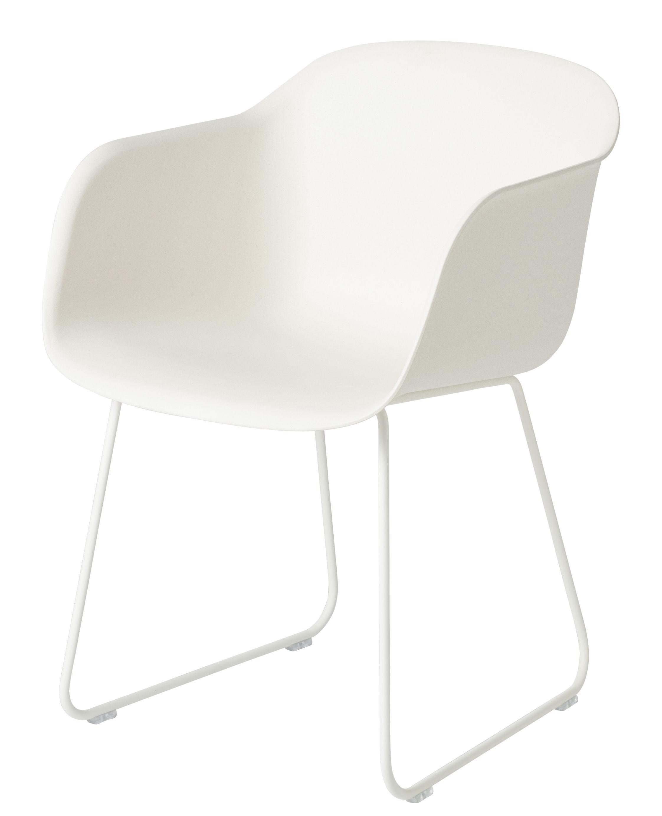 Arredamento - Sedie  - Poltrona Fiber - / Base a cavalletto di Muuto - Bianca / Base bianca - Acciaio verniciato, Matériau composite recyclé