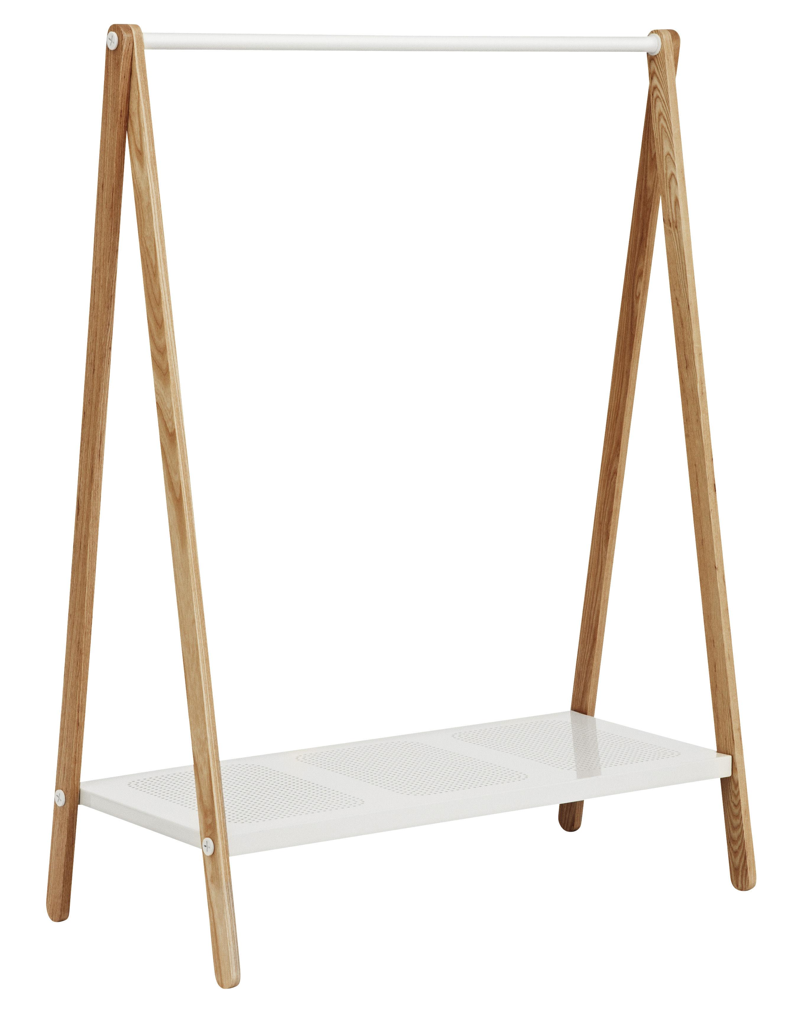 Mobilier - Portemanteaux, patères & portants - Portant Toj grand modèle - Normann Copenhagen - Larg 120 cm - Blanc - Frêne, Métal