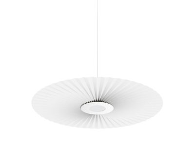 Luminaire - Suspensions - Suspension Carmen Small / LED - Ø 90 cm - Tissu plissé - Hartô - Blanc - Métal laqué, Tissu plissé
