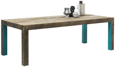 Table Zio Tom / 200 x 100 cm - Mogg bois naturel,turquoise en bois