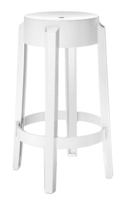 Tabouret Haut Empilable Charles Ghost Kartell Blanc Opaque H 65