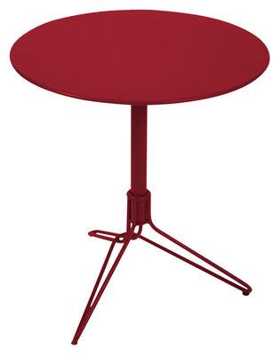 Outdoor - Tavoli  - Tavolo rotondo Flower di Fermob - Peperoncino - Acciaio