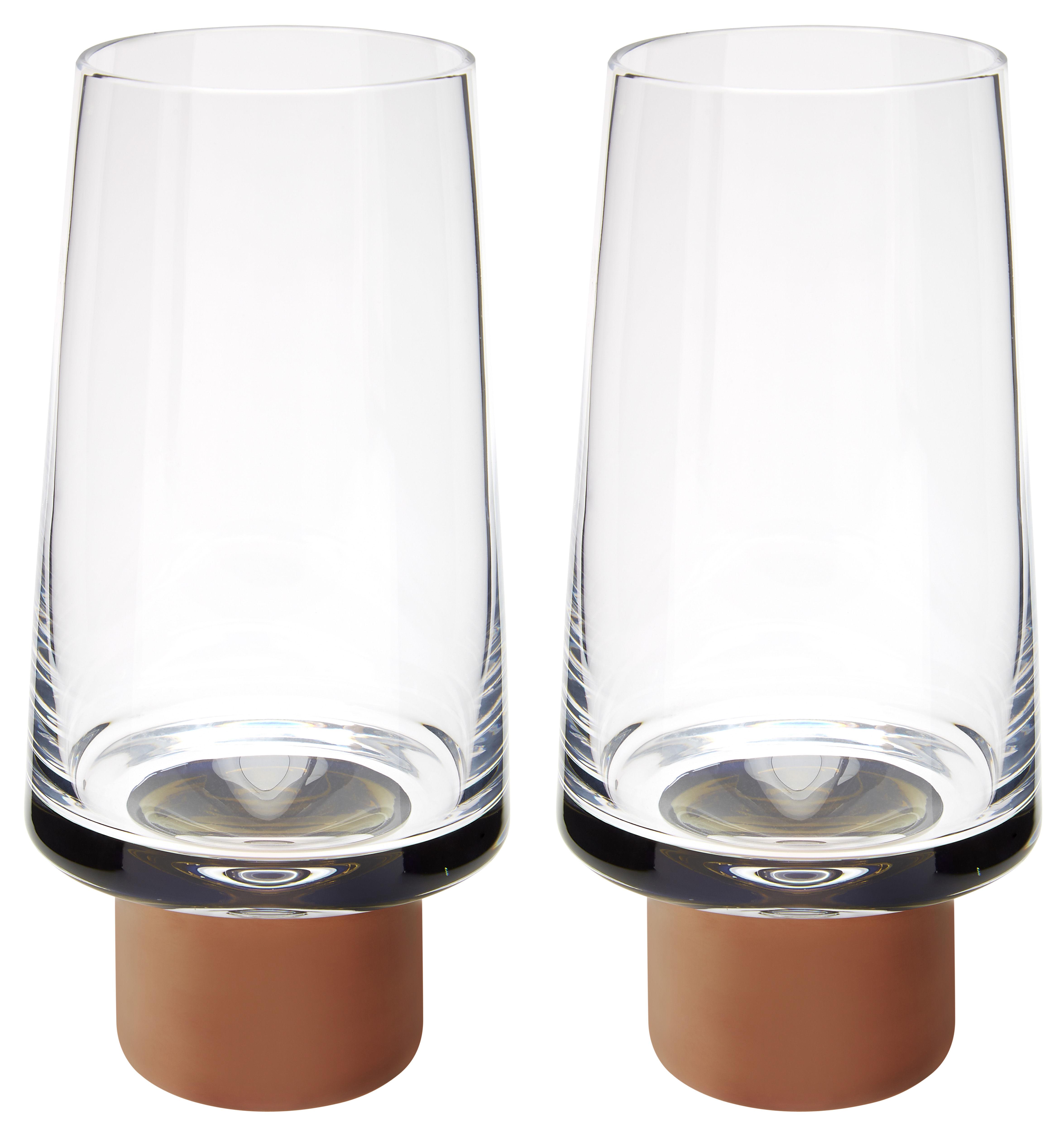 Arts de la table - Verres  - Verre Tank / Haut - H 16,5 cm - Lot de 2 - Tom Dixon - Transparent / Cuivre - Verre soufflé bouche