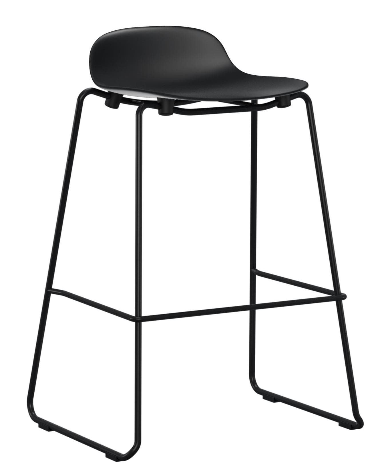 Furniture - Bar Stools - Form Bar stool - stackable / Metal legs - H 75 cm by Normann Copenhagen - Black - Lacquered steel, Polypropylene