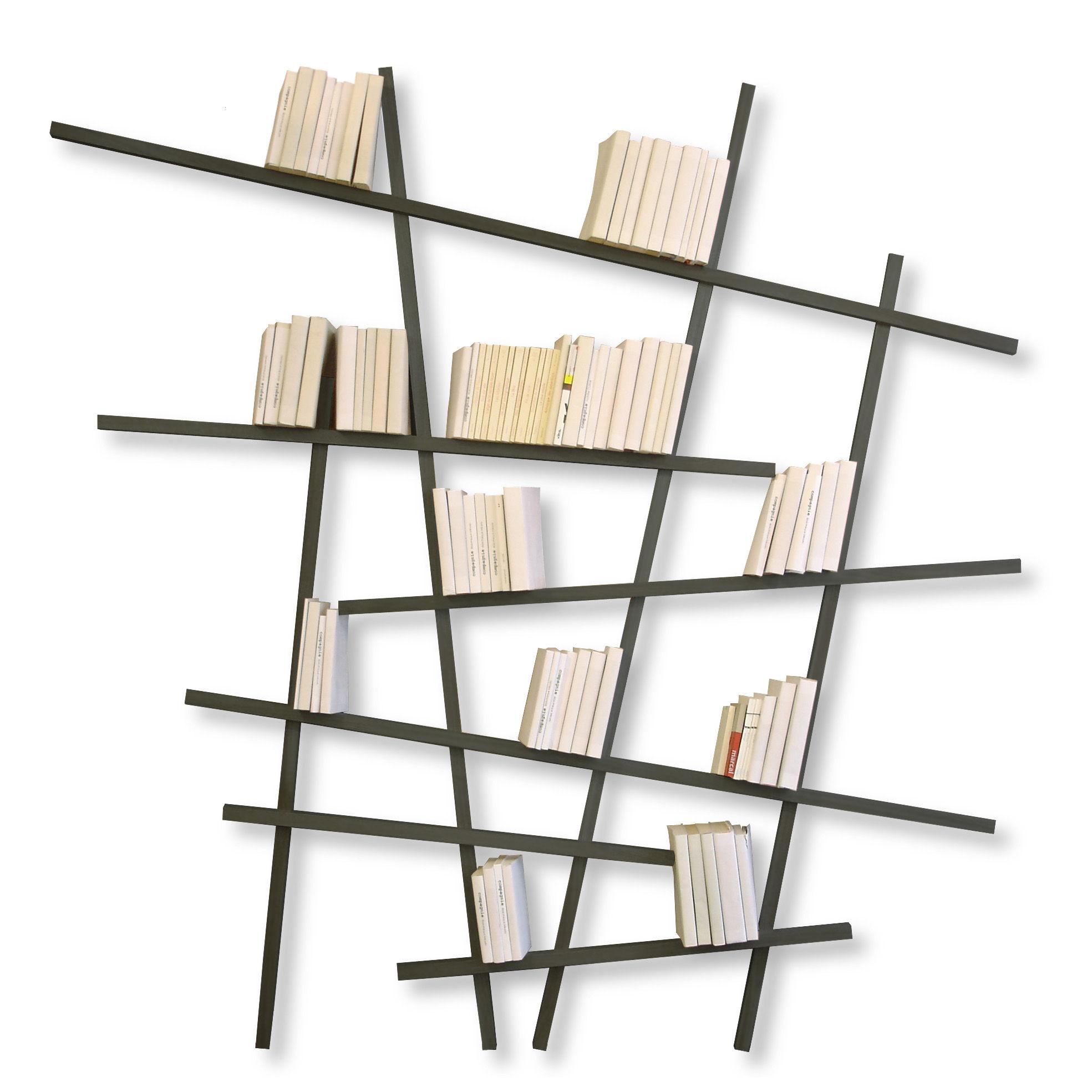 Mobilier - Etagères & bibliothèques - Bibliothèque Mikado Large / L 215 x H 220 cm - Compagnie - Gris - Hêtre laqué