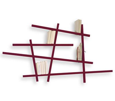 Mobilier - Etagères & bibliothèques - Bibliothèque Mikado Small / L 185 x H 100 cm - Compagnie - Aubergine - Hêtre laqué