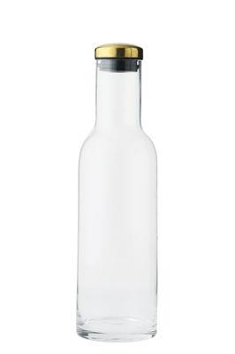 Image of Caraffa Bottle - / 1 Litro - Tappo ottone di Menu - Oro/Trasparente/Metallo - Vetro
