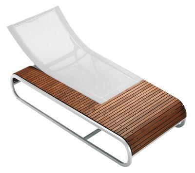 Chaise longue Tandem version teck - EGO Paris blanc,teck en métal