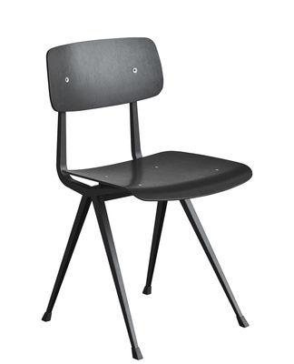 Mobilier - Chaises, fauteuils de salle à manger - Chaise Result / Réédition 1958 - Hay - Noir / Pieds noirs - Acier laqué, Contreplaqué de chêne teinté
