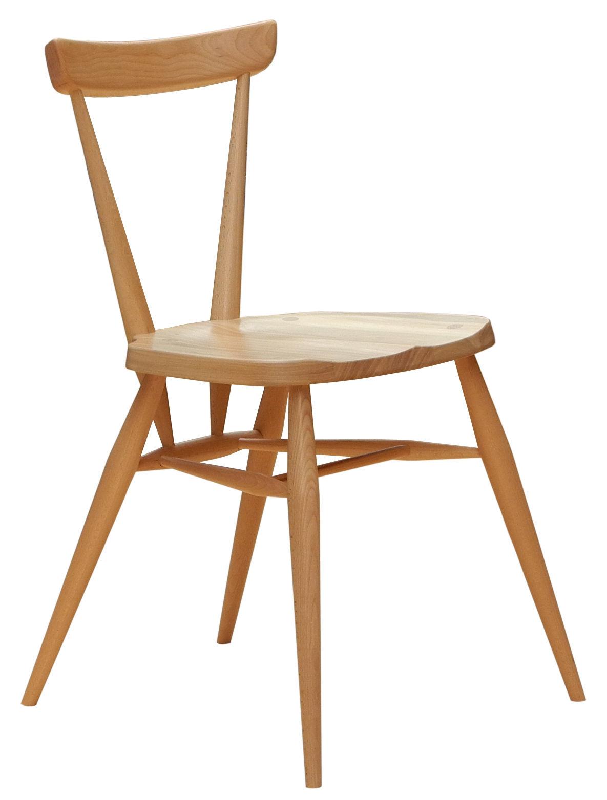 Mobilier - Chaises, fauteuils de salle à manger - Chaise Stacking / Bois - Réédition 1957 - Ercol - Bois naturel - Hêtre massif, Orme massif