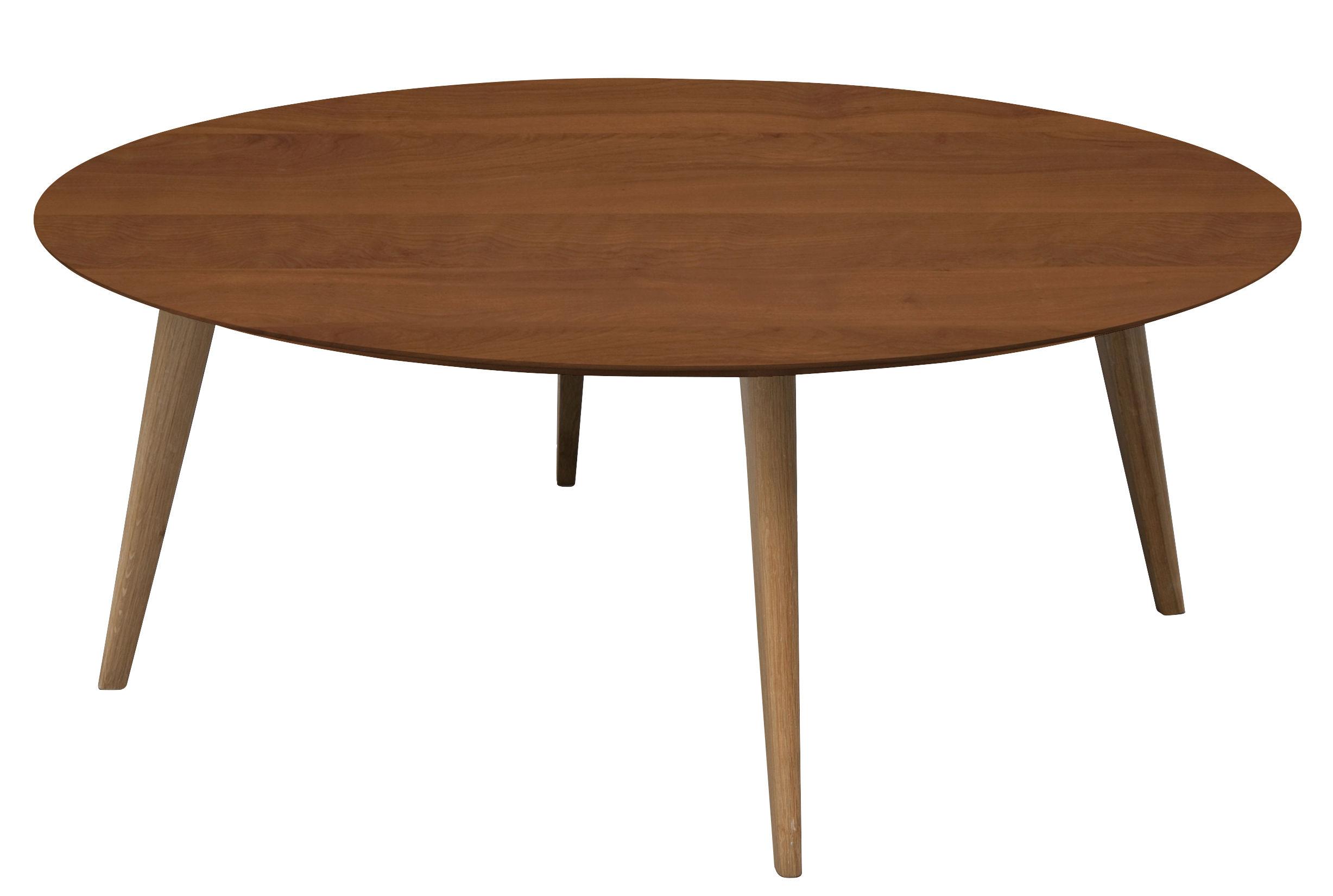 Furniture - Coffee Tables - Lalinde Ronde Coffee table - / XXL - Ø 95 cm by Sentou Edition - Teak / Oak legs - Solid oak, Teak veneer MDF